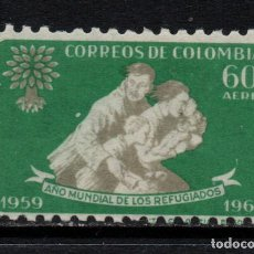 Sellos: COLOMBIA AEREO 362** - AÑO 1960 - AÑO MUNDIAL DEL REFUGIADO. Lote 209956527