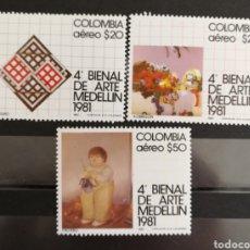 Sellos: COLOMBIA, BIENAL DE ARTE DE MEDELLÍN 1981 MNH (FOTOGRAFÍA REAL). Lote 211486537
