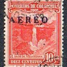 Sellos: COLOMBIA Nº 632, SOBRECARGADO AVION CON UNIFICADO YAEREO, USADO. Lote 214564536