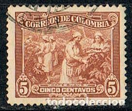 COLOMBIA Nº 394, RECOLECCIÓN DEL CAFÉ, USADO (Sellos - Extranjero - América - Colombia)