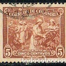 Sellos: COLOMBIA Nº 394, RECOLECCIÓN DEL CAFÉ, USADO. Lote 237138485