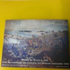 Sellos: COLOMBIA HOJA BLOQUE NUEVO BATALLA MILITAR 1819 SANTANDER GENERAL. Lote 219679610