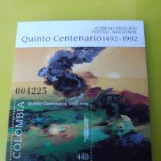 Sellos: ARTE COLOMBIA CENTENARIO CORREOS ADMINISTRACIÓN HOJA BLOQUE NUEVO 1992. Lote 219683270