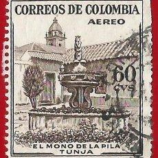 Sellos: COLOMBIA. 1954. FUENTE DEL MONO DE LA PILA. TUNJA. Lote 221493397