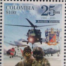 Sellos: O) 2020 COLOMBIA, REACTIVACION DE LA AVIACION EJERCITO NACIONAL 1995, AERONAVES ALA ROTATORIA, HELIC. Lote 221617173