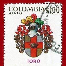 Sellos: COLOMBIA. 1973. ESCUDO DE TORO, VALLE DEL CAUCA. Lote 227944115