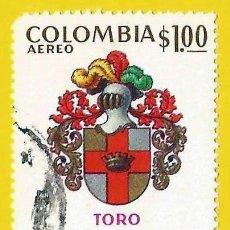 Sellos: COLOMBIA. 1973. ESCUDO DE TORO, VALLE DEL CAUCA. Lote 227944190