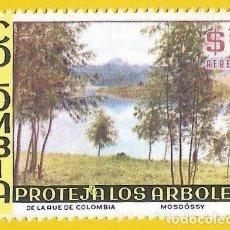 Sellos: COLOMBIA. 1975. ARBOLES Y LAGO. PROTECCION NATURALEZA. Lote 227945050