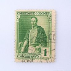 Sellos: ANTIGUO SELLO POSTAL COLOMBIA 1937, 1 CT, LIBERTADOR SIMON BOLIVAR, USADO. Lote 229430695