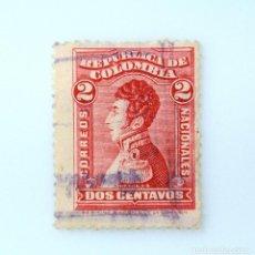 Sellos: ANTIGUO SELLO POSTAL COLOMBIA 1917, 2 CENTAVOS, ANTONIO NARIÑO, USADO. Lote 229431925