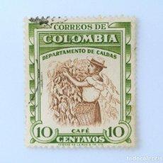 Sellos: ANTIGUO SELLO POSTAL COLOMBIA 1958, 10 CENTAVOS, CAFÉ DEPARTAMENTO DE CALDAS, USADO. Lote 229432870