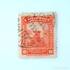 Sellos: ANTIGUO SELLO POSTAL COLOMBIA 1948, 10 CENTAVOS, EL DORADO , SOBREPORTE, USADO. Lote 229496150