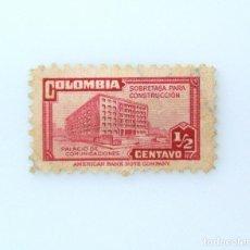 Sellos: ANTIGUO SELLO POSTAL COLOMBIA 1945, 1/2 CT, PALACIO DE COMUNICACIONES, SOBRETASA CONSTRUCCION ,USADO. Lote 229533710