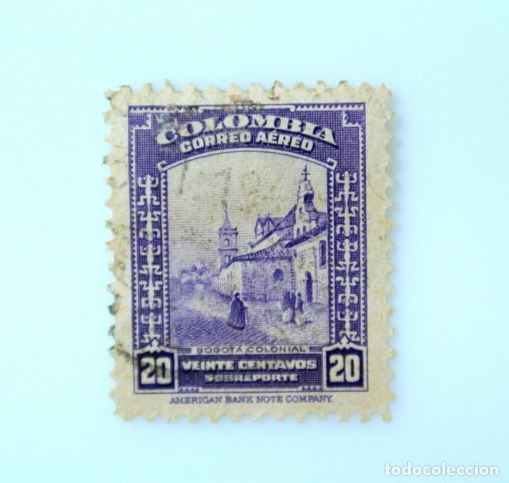 ANTIGUO SELLO POSTAL COLOMBIA 1948, 20 CT, BOGOTA COLONIAL, SOBREPORTE ,USADO (Sellos - Extranjero - América - Colombia)