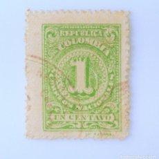 Sellos: ANTIGUO SELLO POSTAL COLOMBIA 1908, 1 CT, NUMERO Y ESCUDO DE ARMAS,USADO. Lote 229578025