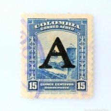 Sellos: ANTIGUO SELLO POSTAL COLOMBIA 1950, 15 CT, CARTAGENA FORTIFICACION ESPAÑOLA, OVERPRINTED, USADO. Lote 229696695