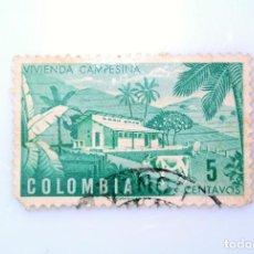 Sellos: ANTIGUO SELLO POSTAL COLOMBIA 1950, 5 CT, VIVIENDA CAMPESINA, USADO. Lote 229719620