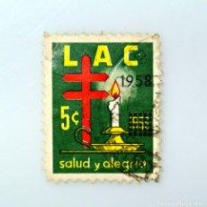 Sellos: SELLO POSTAL COLOMBIA 1958, 5 CT , LAC, SALUD Y ALEGRÍA, OVERPRINTED 1958, USADO. Lote 233211855