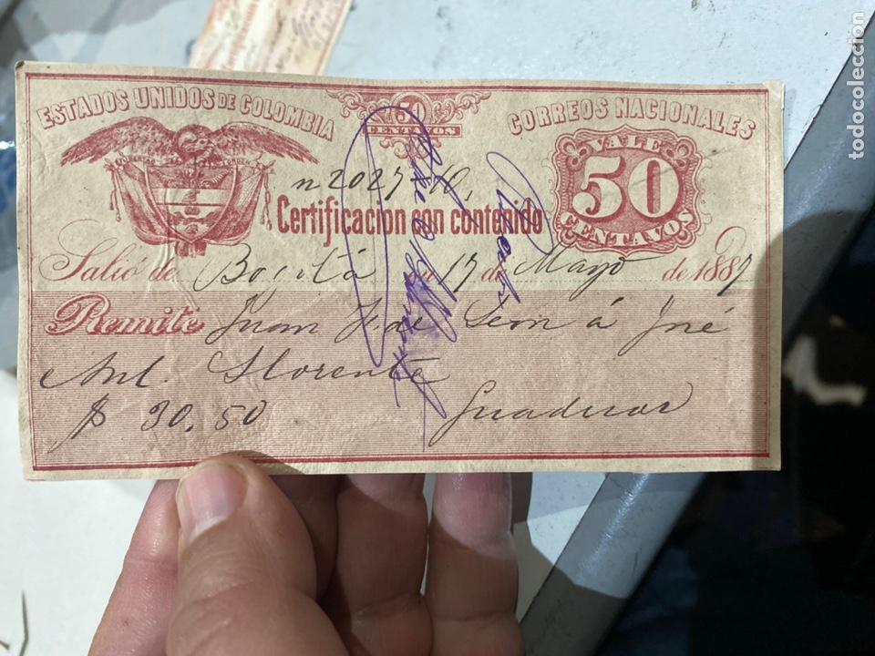 Sellos: COLOMBIA. SELLOS PARA EL CORREO CERTIFICADO años 1889 .raros . Ver fotos - Foto 2 - 233882340