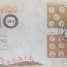 Sellos: O) 2016 COLOMBIA, AMÉRICA UPAEP, OLIMPIADAS RIO DE JANEIRO, ATLETAS COLOMBIANOS, CICLISMO, NATACION,. Lote 236257250