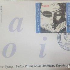 Sellos: O) 2002 COLOMBIA, AMÉRICA UPAEP, JUVENTUD, EDUCACIÓN Y ALFABETIZACIÓN, PERSONA LEE UN LIBRO, CARTA Y. Lote 236266065