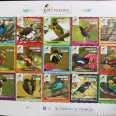 Sellos: O) 2018 COLOMBIA, RISARALDA BIRD FESTIVAL, EXOTIC BIRDS, BIODIVERSE TERRITORY, ORNITHOLOGY, AVIFAUNA. Lote 236471455