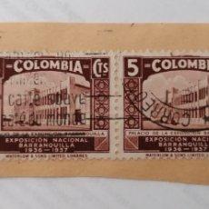 Sellos: COLOMBIA. 4 SELLOS PEGADOS A TROZO DE CARTA. 1 Y 5 CENTAVOS. 1937. Lote 252534960