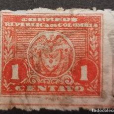Sellos: 1904.COLOMBIA, ESCUDO NACIONAL ,1 CENTAVO*.MH (21-292). Lote 252652430