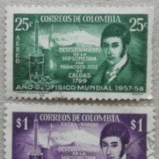 Sellos: 1958. COLOMBIA. A-308 / A-309. AÑO GEOFÍSICO INT. HIPSÓMETRO DE FJ DE CALDAS. SERIE COMPLETA. USADO.. Lote 253260090