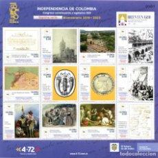 Sellos: O) COLOMBIA 2021, INDEPENDENCIA DE COLOMBIA, CONGRESO CONSTITUYENTE DE 1821, ARQUITECTURA, PATRIMONI. Lote 266582973