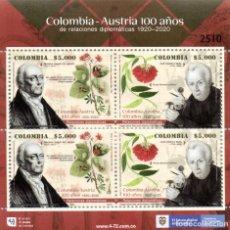 Sellos: O) COLOMBIA 2020, EMISIÓN CONJUNTA, RELACIONES DIPLOMÁTICAS CON AUSTRIABOTANICA, JOSE CELESTINO MUTI. Lote 266602763