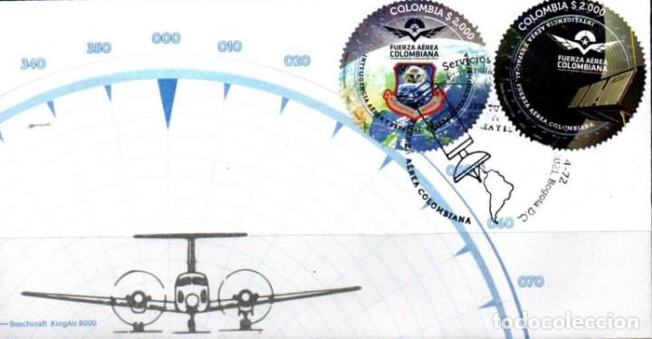 O) COLOMBIA 2021, ODD SHAPE, SATÉLITE FACSAT 2, AVIÓN AERONÁUTICO MILITAR, BEECHCRAFT KING AIR B200, (Sellos - Extranjero - América - Colombia)