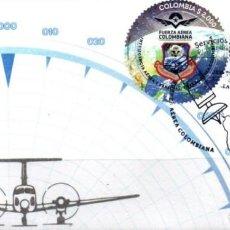 Sellos: O) COLOMBIA 2021, ODD SHAPE, SATÉLITE FACSAT 2, AVIÓN AERONÁUTICO MILITAR, BEECHCRAFT KING AIR B200,. Lote 266911289