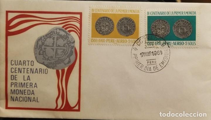 O) PERÚ 1968, 8 REALES PLATA PERUANA, MONEDA 1568, PRIMERA MONEDA PERUANA, FDC XF (Sellos - Extranjero - América - Colombia)