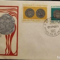 Sellos: O) PERÚ 1968, 8 REALES PLATA PERUANA, MONEDA 1568, PRIMERA MONEDA PERUANA, FDC XF. Lote 266914149