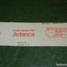 Sellos: COLOMBIA - FRANQUEO MECANICO AVIANCA - VUELE JUMBO 747 - MEDELLIN 1978 (AVIONES). Lote 268982499