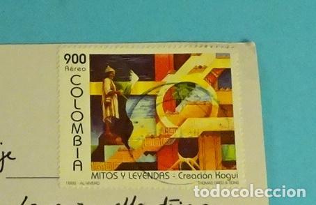 POSTAL PLAYAS DE BOCAGRANDE. CARTAGENA. COLOMBIA. SELLO MITOS Y LEYENDAS (Sellos - Extranjero - América - Colombia)