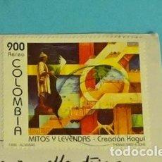 Sellos: POSTAL PLAYAS DE BOCAGRANDE. CARTAGENA. COLOMBIA. SELLO MITOS Y LEYENDAS. Lote 273735788