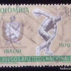 Sellos: SELLO DE COLOMBIA JUEGOS ATLETICOS 1970 (MATASELLADO). Lote 275276833