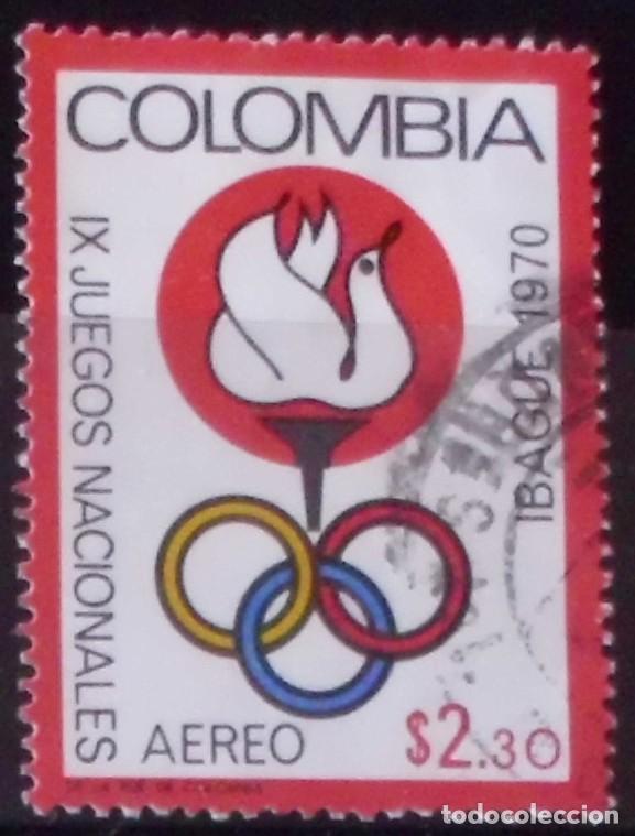 SELLO DE COLOMBIA IX JUEGOS NACIONALES IBAGUE 1970 (MATASELLADO) (Sellos - Extranjero - América - Colombia)