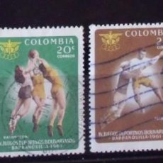 Sellos: LOTE 4 SELLOS COLOMBIA IV JUEGOS DEPORTIVOS BOLIVARIANOS 1961 (MATASELLADOS). Lote 275279568