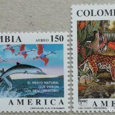 Sellos: 1990. COLOMBIA. 823 / 824. MEDIO NATURAL AVISTADO POR LOS DESCUBRIDORES. SERIE COMPLETA. NUEVO.. Lote 275485038