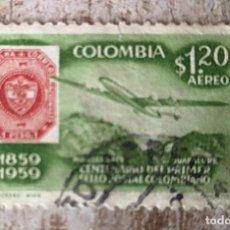 Sellos: COLOMBIA. CENTENARIO DEL PRIMER SELLO POSTAL: AVIÓN Y SELLO DE 1860. 1959. SELLOS USADOS. Lote 278519393