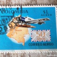 Sellos: COLOMBIA, 1969, 50 ANIVERSARIO DEL CORREO AÉREO CON BARRANQUILLA, USADO. Lote 278529053