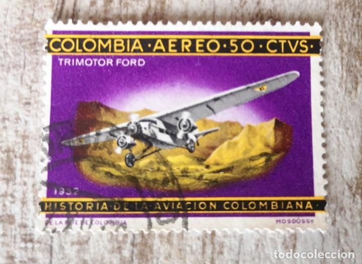 COLOMBIA, USADO,HISTORIA DE LA AVIACION COLOMBIANA (Sellos - Extranjero - América - Colombia)