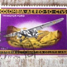 Sellos: COLOMBIA, USADO,HISTORIA DE LA AVIACION COLOMBIANA. Lote 278529598