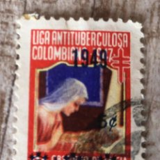Sellos: VIÑETA COLOMBIA. LIGA ANTITUBERCULOSA. 1949. Lote 291987708