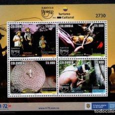 Sellos: O) 2021 COLOMBIA, AMERICA UPAEP, MÚSICA, INSTRUMENTOS MUSICALES, COMIDA, COCINA, ARTESANÍA, INSECTOS. Lote 295554893