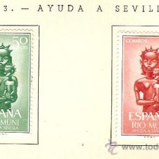Sellos: EDIFIL Nº 35-36 RIO MUNI AYUDA A SEVILLA 1963 SEÑAL FIJASELLOS . Lote 14014688