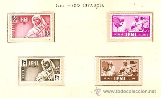 EDIFIL Nº 95-98 IFNI PRO INFANCIA 1953 SEÑAL FIJASELLOS (Sellos - España - Colonias Españolas y Dependencias - África - Ifni)